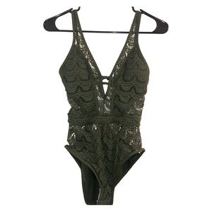 BECCA by Rebecca Virtue Green one piece swimsuit